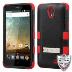 ZTE Prestige 2 Natural Black/Red Hybrid Case with Stand Military Grade