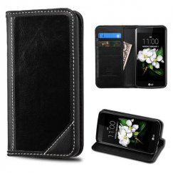 LG K7 Black Genuine Leather Wallet