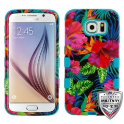 Samsung Galaxy S6 Electric Hibiscus/Tropical Teal Hybrid Case Military Grade