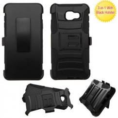Samsung Galaxy A3 Black/Black Advanced Armor Stand Case with Black Holster