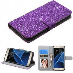 Samsung Galaxy S7 Edge Purple Diamante Wallet
