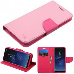Samsung Galaxy S8 Pink Pattern/Hot Pink Liner Wallet with Card Slot