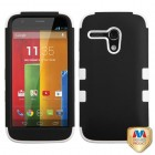 Motorola Moto G Rubberized Black/Solid White Hybrid Phone Protector Cover