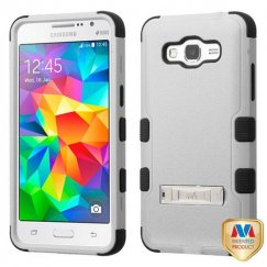Samsung Galaxy Grand Prime Natural Gray/Black Hybrid Case with Stand