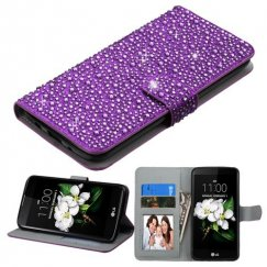 LG K7 Purple Diamante Wallet