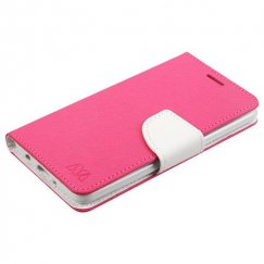 LG K8 / Phoenix 3 Hot Pink Pattern/White Liner wallet with Card Slot
