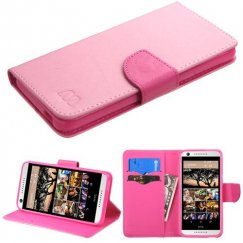 HTC Desire 555 Pink Pattern/Hot Pink Liner Wallet with Card Slot