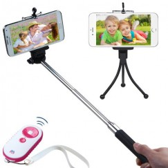 3-In-1 Selfie Package(Monopod Tripod Stand White/Hot Selfie Stick)