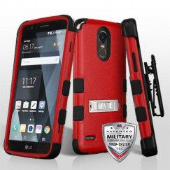 LG G Stylo 3 Natural Red/Black Hybrid Case with Stand Military Grade with Black Horizontal Holster