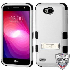 LG X Power 2 Natural Gray/Black Hybrid Case with Stand Military Grade