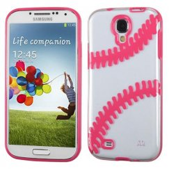 Samsung Galaxy S4 Transparent Clear/Solid Pink(Baseball) Gummy Cover