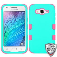 Samsung Galaxy J7 Rubberized Teal Green/Electric Pink Hybrid Case