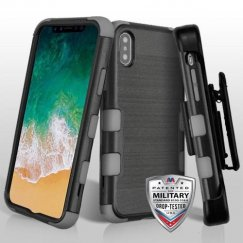 Apple iPhone X Black Brushed/Iron Gray Hybrid Case Military Grade with Black Horizontal Holster