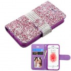 Apple iPhone SE Purple Mini Crystals with Silver Belt Wallet