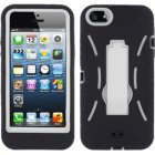 Apple iPhone 5 Hybrid Skin Case with Stand, Black with White Trim