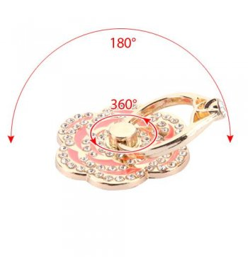 Pink Flower Diamond Adhesive Ring Stand