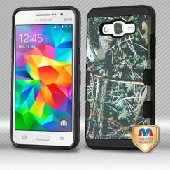 Samsung Galaxy Grand Prime Cedar Tree-Hunting Camouflage Collection(Black)/Black Brushed Hybrid Case