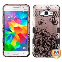 Samsung Galaxy Grand Prime Black Lace Flowers 2D Rose Gold/Black Hybrid Case