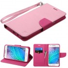 Samsung Galaxy J7 Pink Pattern/Hot Pink Liner Wallet with Lanyard