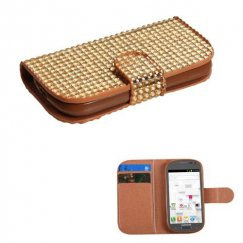 Samsung Galaxy Exhibit Gold Diamonds Book-Style Wallet with Card Slot
