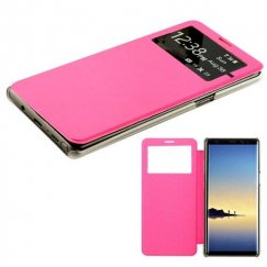 Samsung Galaxy Note 8 Hot Pink Silk Texture with Transparent Frosted Tray