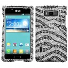 LG Splendor / Venice Black Zebra Skin Diamante Case