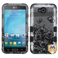 LG Optimus L90 Black Lace Flowers 2D Silver/Black Hybrid Case