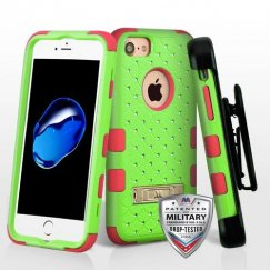 Natural Pearl Green/Electric Pink Hybrid Protector Cover (with Stand)(with Diamonds)[Military-Grade Certified](with Black Horizontal Holster)