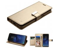 Gold/Gold PU Leather Wallet with extra card slots (GE032) -WP