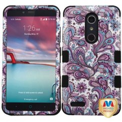 ZTE Grand X Max 2 Purple European Flowers/Black Hybrid Case