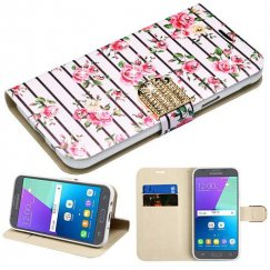 Samsung Galaxy J3 Pink Fresh Roses Diamante Wallet(with Diamante Belt)(DM105) -WP