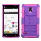 LG Optimus L9 Purple/Electric Pink Advanced Armor Stand Case
