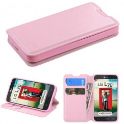 LG Optimus L70 Pink Wallet with Tray