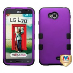 LG Optimus L70 Rubberized Grape/Black Hybrid Case