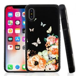 Butterfly Dancing Tempered Glass/Black Fusion Protector Cover