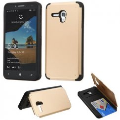 Alcatel One Touch Fierce XL Gold Inverse Advanced Armor Stand Case with Card Wallet