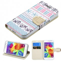 Samsung Galaxy Core Prime Jumping Fishes Diamante Wallet with Diamante Belt