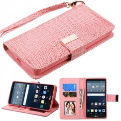 LG G Stylo Pink Crocodile-Embossed Wallet