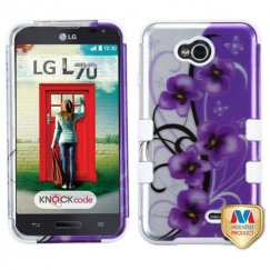 LG Optimus L70 Twilight Petunias 2D Silver/Solid White Hybrid Case