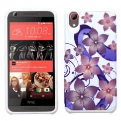 HTC Desire 555 Purple Hibiscus Flower Romance /White Advanced Armor Case