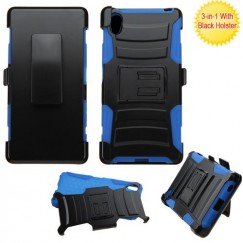 Sony Xperia Z5 Black/ Blue Advanced Armor Stand Case with Black Holster