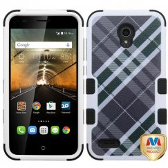 Alcatel One Touch Conquest Forest Green/Gray Diagonal Plaid/Black Hybrid Case