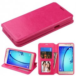 Samsung Galaxy On5 Hot Pink Wallet with Tray