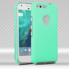 Google Pixel XL Teal Green Dots Textured/Transparent Clear Fusion Case