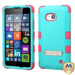 Nokia Lumia 640 Natural Teal Green/Electric Pink Hybrid Case with Stand