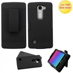 LG Escape 2 Black/Black Advanced Armor Case with Black Holster