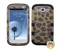 Leopard Skin/Camel Diamante/Black TUFF Hybrid Phone Protector Cover