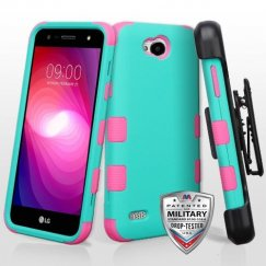 LG X Power 2 Rubberized Teal Green/Electric Pink Hybrid Case Military Grade with Black Horizontal Holster