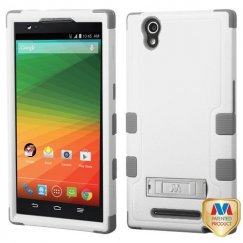 ZTE ZMax Natural Cream White/Iron Gray Hybrid Case with Stand