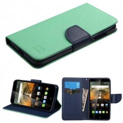 Alcatel One Touch Conquest Teal Green Pattern/Dark Blue Liner wallet with Card Slot